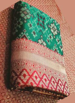 Amazing Bottel Green Silk Thread Weaving Traditional Designer Saree