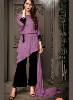 Elegant Lavender Georgette Pearl Work Designer Kurti With Fancy Pant