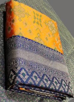 Lovely Mustred Silk Thread Weaving Traditional Designer Saree