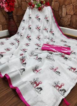 Elegant Pink Semi Linen Hand Printed Designer Saree