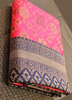 Wonderful Pink Silk Thread Weaving Traditional Designer Saree