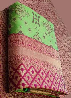Amazing Pista Green Silk Thread Weaving Traditional Designer Saree