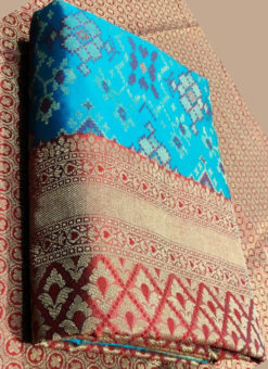 Lovely Sky Blue Silk Thread Weaving Traditional Designer Saree