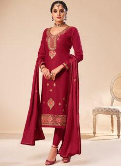 Amazing Red Silk Embroidered Work Designer Party Wear Salwar Suit