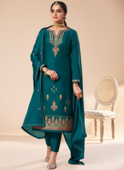 Beautiful Sea Blue Silk Embroidered Work Designer Party Wear Salwar Suit