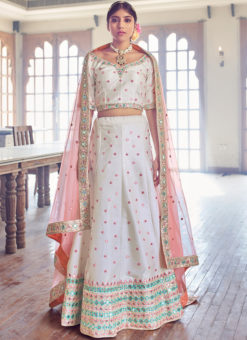 Lovely White Silk Embroidered Work Designer Wedding Lehenga Choli