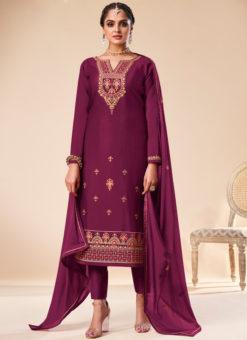 Classic Purple Silk Embroidered Work Designer Party Wear Salwar Suit