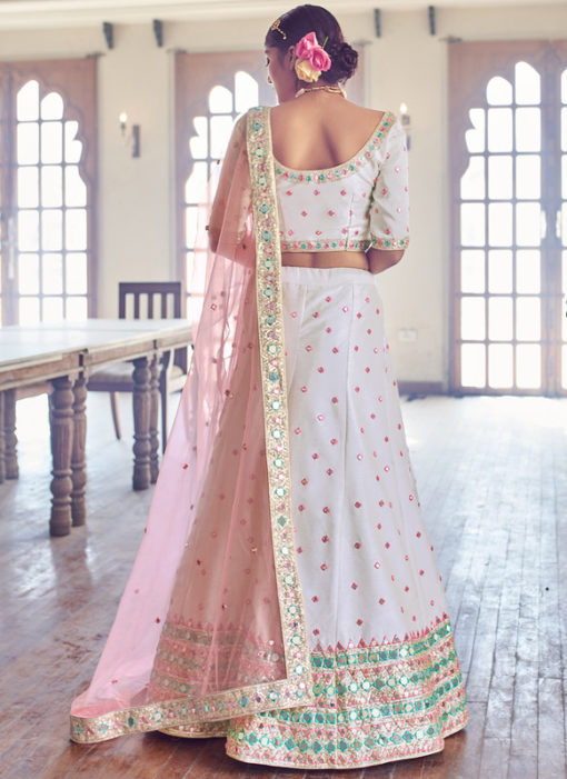 Lovely White Silk Embroidered Work Designer Wedding Lehenga Choli