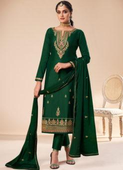 Lavish Green Silk Embroidered Work Designer Party Wear Salwar Suit