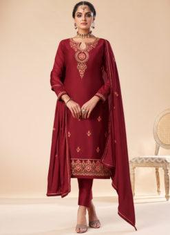 Excellent Maroon Silk Embroidered Work Designer Party Wear Salwar Suit