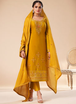 Elegant Yellow Silk Embroidered Work Designer Party Wear Salwar Suit