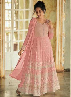 Pretty Pink Georgette Lakhnavi Work Designer Anarkali Suit