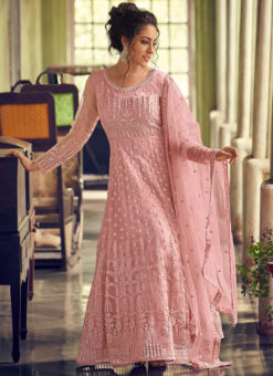 Beautiful Pink Georgette Lucknowi Work Designer Wedding Anarkali Suit