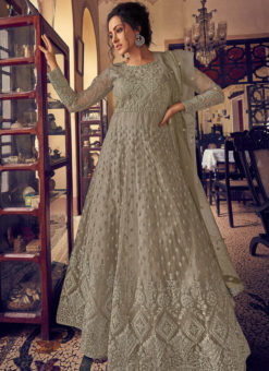 Amazing Beige Georgette Lucknowi Work Designer Anarkali Suit