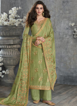 Graceful Green Silk Embroidered Work Party Wear Salwar Suit