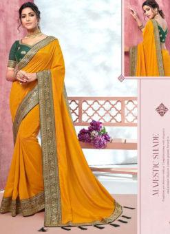 Elegant Yellow Vichitra Silk Embroidered Border Bridal Saree