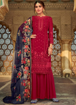 Amazing Magenta Gerogette Embroidered Work Party Wear Salwar Suit
