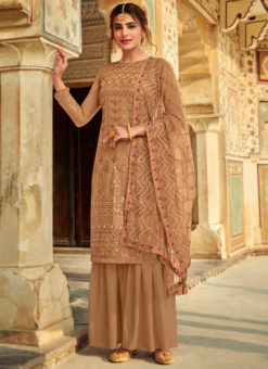 Lovely Cream Georgette Embroidered Work Party Wear Salwar Suit