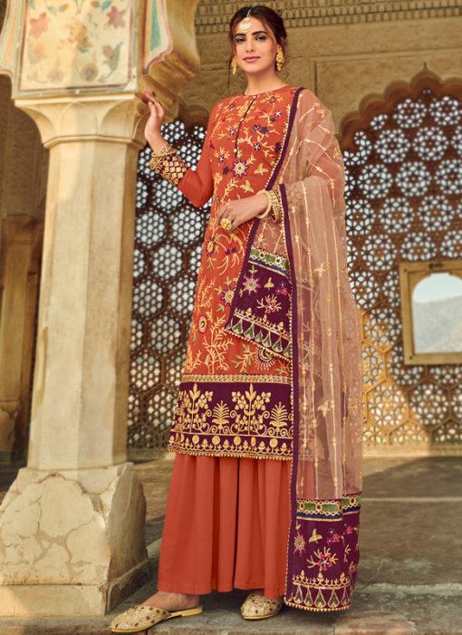 Elegant Rust Georgette Embroidered Work Party Wear Salwar Suit