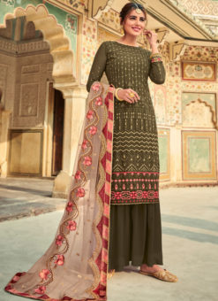 Graceful Green Georgette Embroidered Work Party Wear Salwar Suit