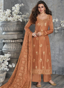Elegant Rust Silk Embroidered Work Party Wear Salwar Suit