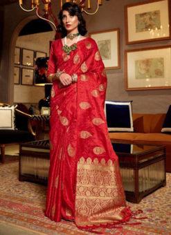 Lavish Red Satin Silk Zari Weaving Wedding Saree