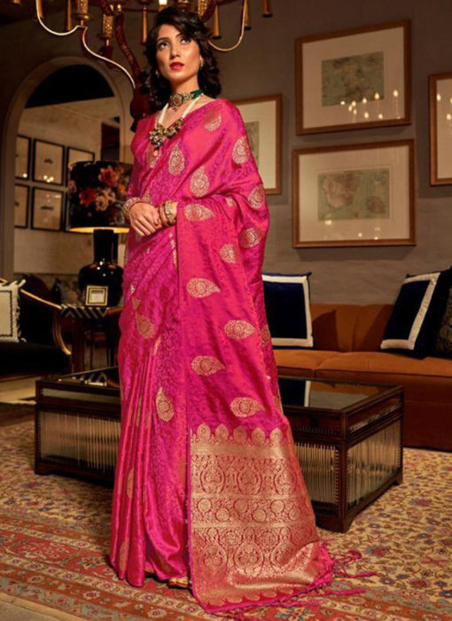 Extravagant Rani Satin Silk Zari Weaving Wedding Saree