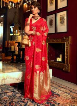 Adorable Red Satin Silk Zari Weaving Wedding Saree
