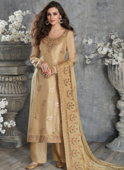 Classic Cream Silk Embroidered Work Party Wear Salwar Suit