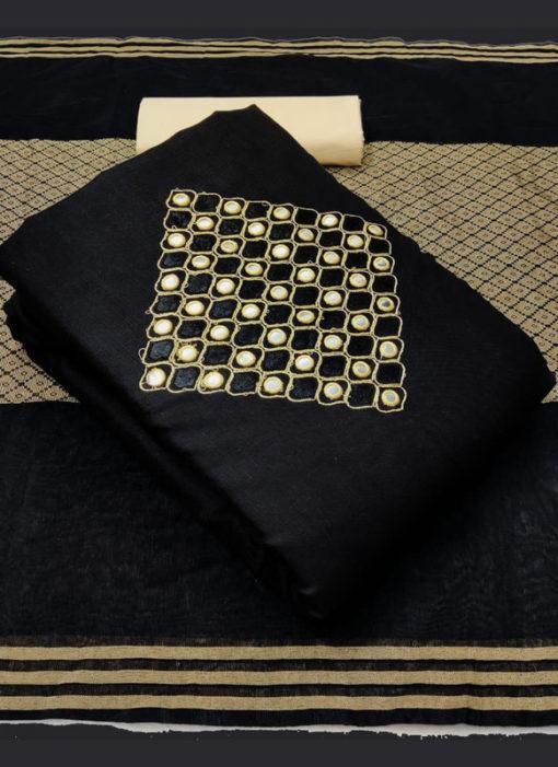 Attractive Black Slub Cotton Embroidered Work Designer Salwar Suit