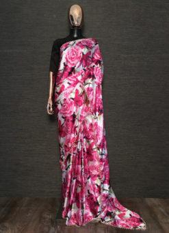 Excellent Pink Designer Printed Party Wear Satin Saree