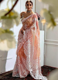Elegant Peach Heavy Pure Organza Embroidered Work Designer Saree