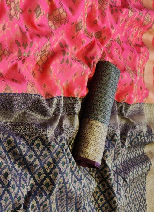 Wonderful Pink Silk Thread Weaving Traditional Designer Saree