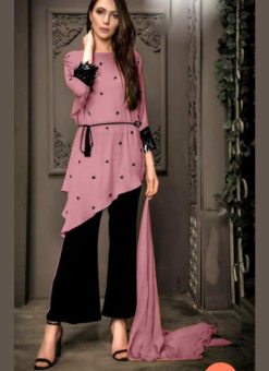 Beautiful Purple Georgette Pearl Work Designer Kurti With Fancy Pant