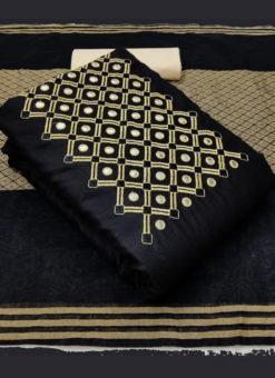 Amazing Black Slub Cotton Embroidered Work Designer Salwar Suit