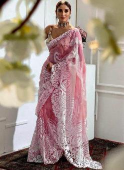 Charming Pink Heavy Pure Organza Embroidered Work Designer Saree