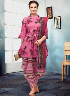 Excellent Pink Cotton Printed Readymade Patiyala Salwar Suit