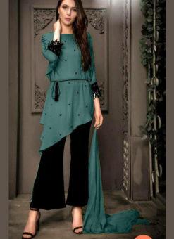 Amazing Rama Green Georgette Pearl Work Designer Kurti With Fancy Pant