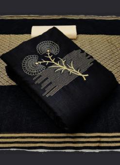 Excellent Black Slub Cotton Embroidered Work Designer Salwar Suit
