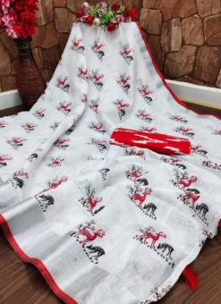 Attractive Red Semi Linen Hand Printed Designer Saree