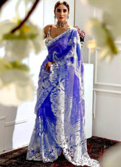 Amazing Royale Blue Heavy Pure Organza Embroidered Work Designer Saree