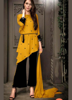 Pretty Yellow Georgette Pearl Work Designer Kurti With Fancy Pant