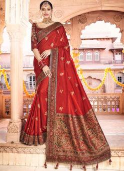 Lavish Red Dola Silk Kalamkari Printed Party Wear Saree