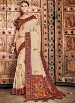 Lovely Cream Dola Silk Kalamkari Printed Party Wear Saree