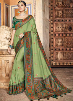 Elegant Green Dola Silk Kalamkari Printed Party Wear Saree