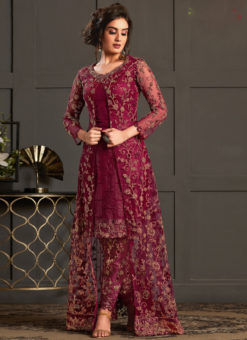 Elegant Magenta Net And Georgette Embroidered Work Designer Salwar Suit
