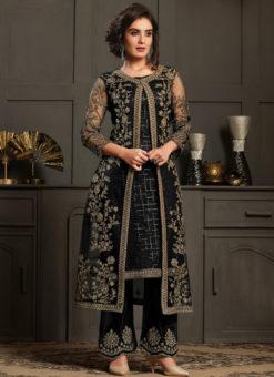 Elegant Black Net And Georgette Embroidered Work Designer Salwar Suit