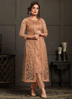Lovely Beige Net And Georgette Embroidered Work Designer Salwar Suit