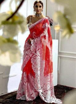 Wonderful Red Heavy Pure Organza Embroidered Work Designer Saree