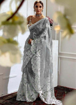 Classic Grey Heavy Pure Organza Embroidered Work Designer Saree